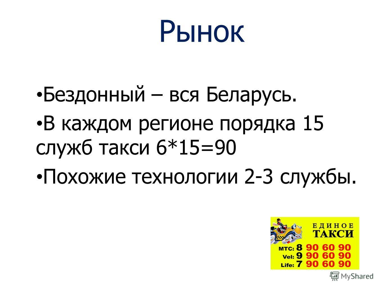 Рынок Бездонный – вся Беларусь. В каждом регионе порядка 15 служб такси 6*15=90 Похожие технологии 2-3 службы.