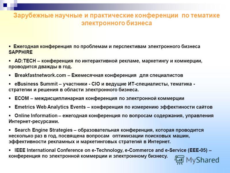 Зарубежные научные и практические конференции по тематике электронного бизнеса Ежегодная конференция по проблемам и перспективам электронного бизнеса SAPPHIRE AD:TECH – конференция по интерактивной рекламе, маркетингу и коммерции, проводится дважды в