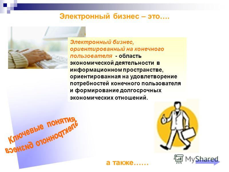 Электронный бизнес – это…. а также…… Электронный бизнес, ориентированный на конечного пользователя - область экономической деятельности в информационном пространстве, ориентированная на удовлетворение потребностей конечного пользователя и формировани