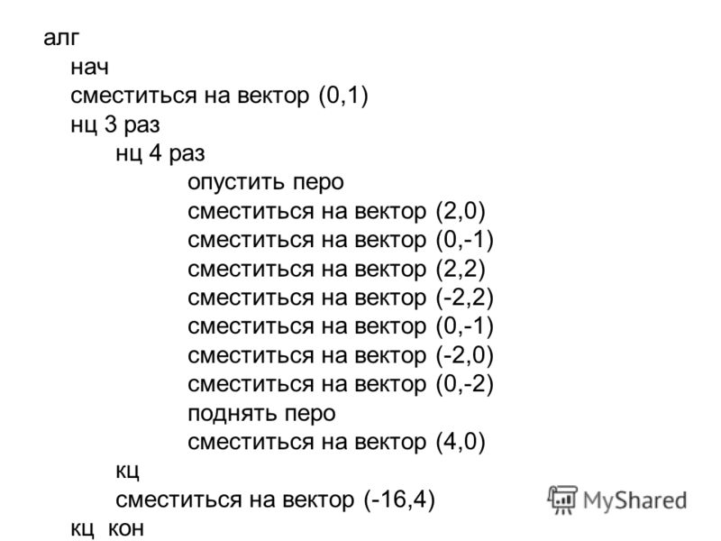 алг нач сместиться на вектор (0,1) нц 3 раз нц 4 раз опустить перо сместиться на вектор (2,0) сместиться на вектор (0,-1) сместиться на вектор (2,2) сместиться на вектор (-2,2) сместиться на вектор (0,-1) сместиться на вектор (-2,0) сместиться на век