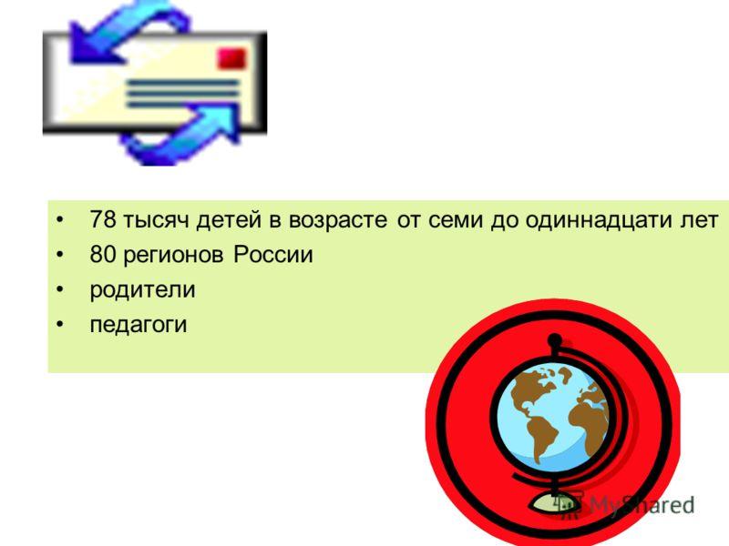 78 тысяч детей в возрасте от семи до одиннадцати лет 80 регионов России родители педагоги