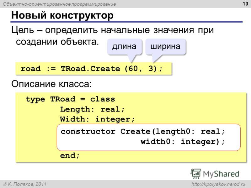 Объектно-ориентированное программирование К. Поляков, 2011 http://kpolyakov.narod.ru Новый конструктор 19 Цель – определить начальные значения при создании объекта. road := TRoad.Create (60, 3); длина ширина Описание класса: type TRoad = class Length