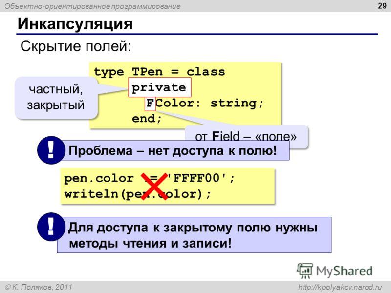 Объектно-ориентированное программирование К. Поляков, 2011 http://kpolyakov.narod.ru Инкапсуляция 29 Скрытие полей: type TPen = class private FColor: string; end; type TPen = class private FColor: string; end; от Field – «поле» частный, закрытый F pr