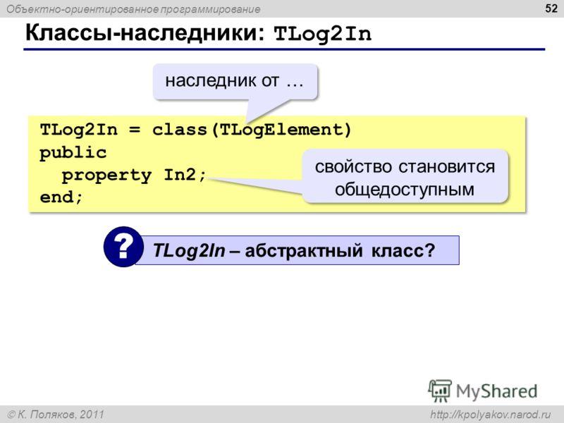 Объектно-ориентированное программирование К. Поляков, 2011 http://kpolyakov.narod.ru Классы-наследники: TLog2In 52 TLog2In = class(TLogElement) public property In2; end; TLog2In = class(TLogElement) public property In2; end; свойство становится общед