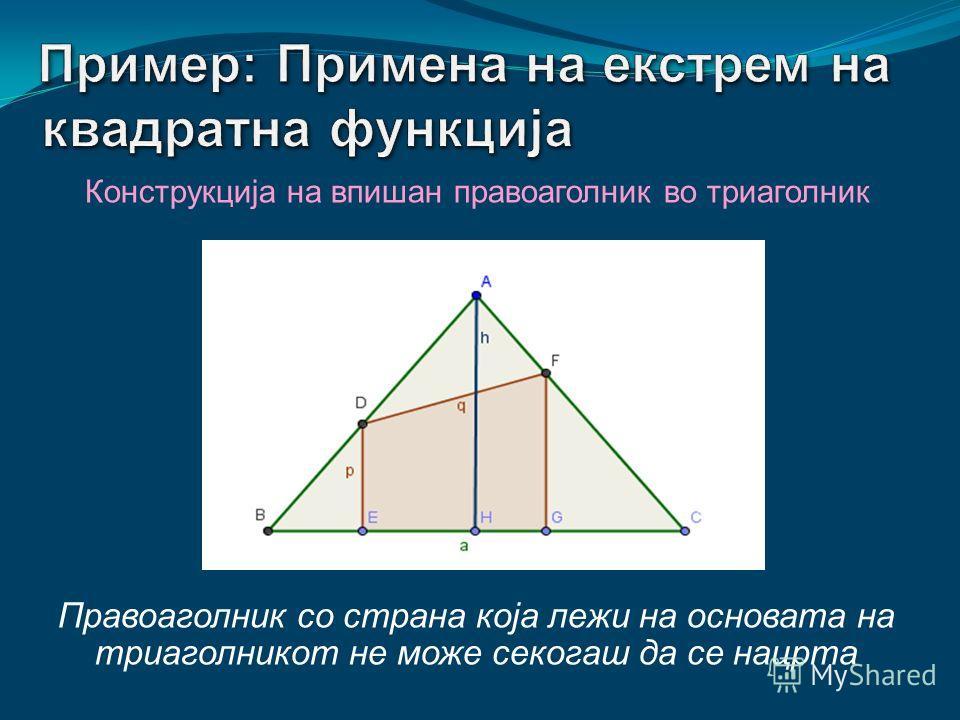 Конструкција на впишан правоаголник во триаголник Триаголник со основа а и висина h кон истата страна, не е еднозначно определен