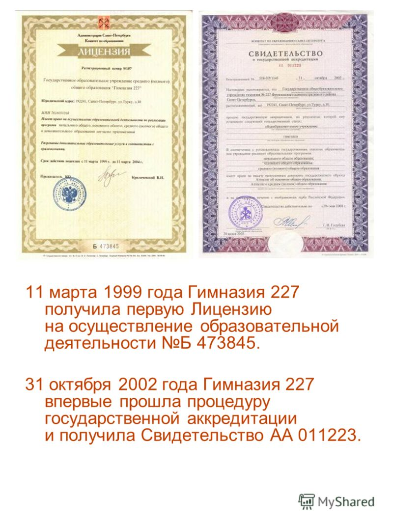 11 марта 1999 года Гимназия 227 получила первую Лицензию на осуществление образовательной деятельности Б 473845. 31 октября 2002 года Гимназия 227 впервые прошла процедуру государственной аккредитации и получила Свидетельство АА 011223.