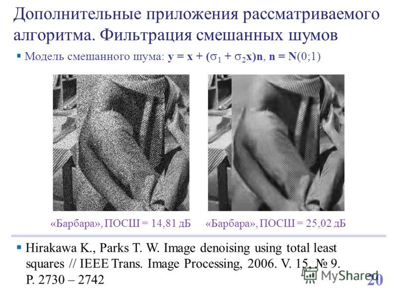 Дополнительные приложения рассматриваемого алгоритма. Фильтрация смешанных шумов Hirakawa K., Parks T. W. Image denoising using total least squares // IEEE Trans. Image Processing, 2006. V. 15, 9. P. 2730 – 2742 «Барбара», ПОСШ = 14,81 дБ«Барбара», П
