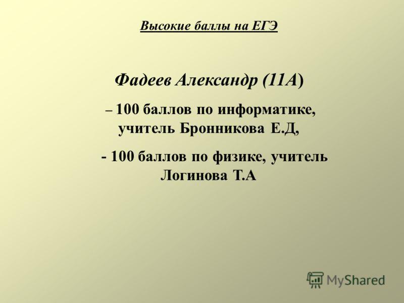 Высокие баллы на ЕГЭ Фадеев Александр (11А) – 100 баллов по информатике, учитель Бронникова Е.Д, - 100 баллов по физике, учитель Логинова Т.А