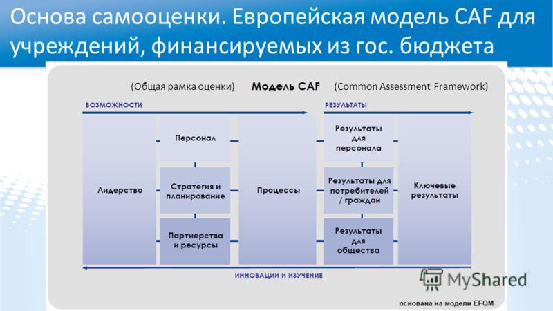 Основа самооценки. Европейская модель CAF для учреждений, финансируемых из гос. бюджета (Common Assessment Framework)(Общая рамка оценки)