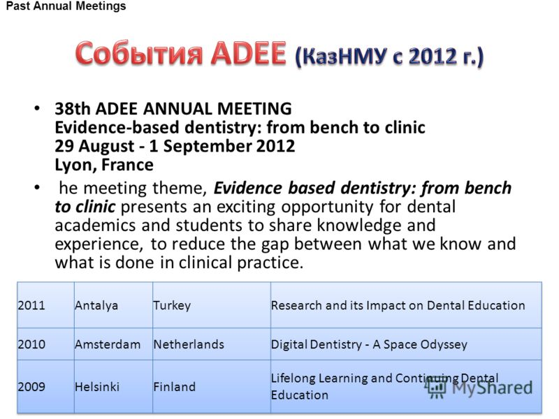 38th ADEE ANNUAL MEETING Evidence-based dentistry: from bench to clinic 29 August - 1 September 2012 Lyon, France he meeting theme, Evidence based dentistry: from bench to clinic presents an exciting opportunity for dental academics and students to s