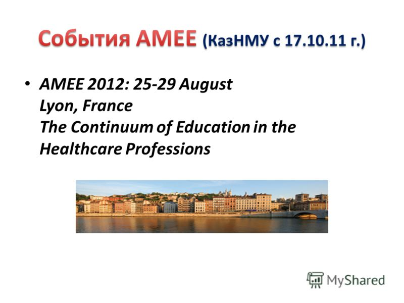 AMEE 2012: 25-29 August Lyon, France The Continuum of Education in the Healthcare Professions
