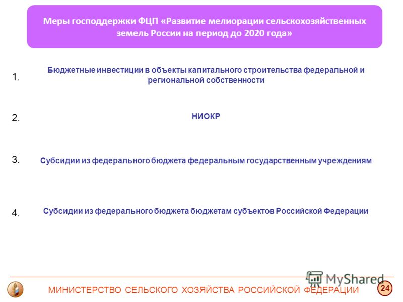 Меры господдержки ФЦП «Развитие мелиорации сельскохозяйственных земель России на период до 2020 года» НИОКР Бюджетные инвестиции в объекты капитального строительства федеральной и региональной собственности Субсидии из федерального бюджета федеральны