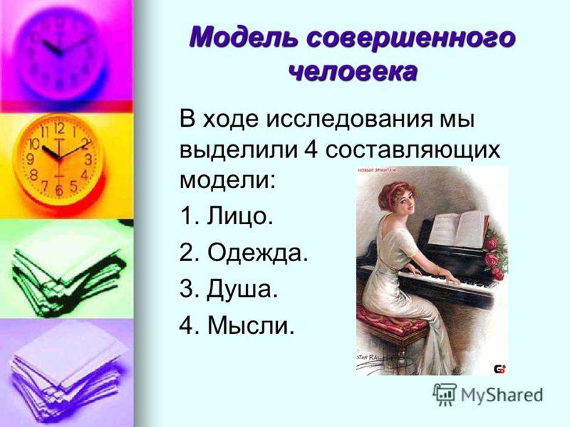 Модель совершенного человека В ходе исследования мы выделили 4 составляющих модели: 1. Лицо. 2. Одежда. 3. Душа. 4. Мысли.