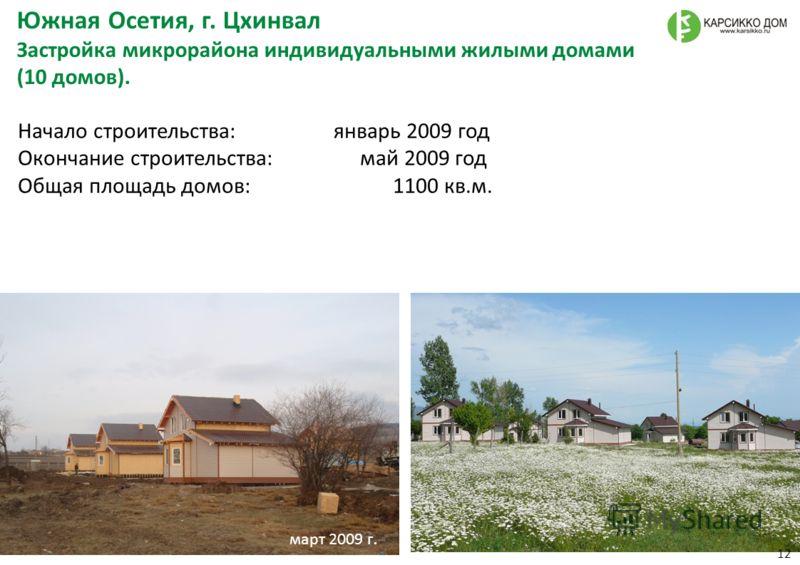 Начало строительства : январь 2009 год Окончание строительства : май 2009 год Общая площадь домов : 1100 кв. м. Южная Осетия, г. Цхинвал Застройка микрорайона индивидуальными жилыми домами (10 домов ). март 2009 г. 12