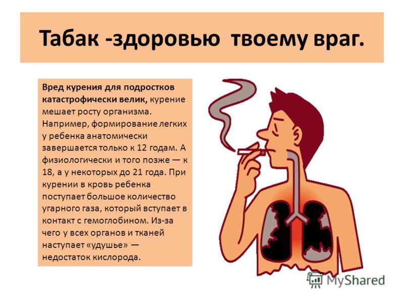 Табак -здоровью твоему враг. Вред курения для подростков катастрофически велик, курение мешает росту организма. Например, формирование легких у ребенка анатомически завершается только к 12 годам. А физиологически и того позже к 18, а у некоторых до 2