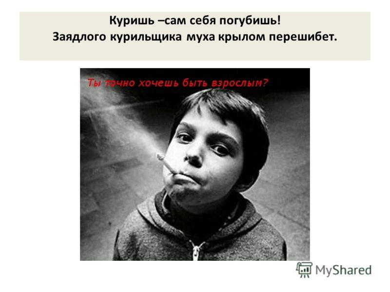 Куришь –сам себя погубишь! Заядлого курильщика муха крылом перешибет.