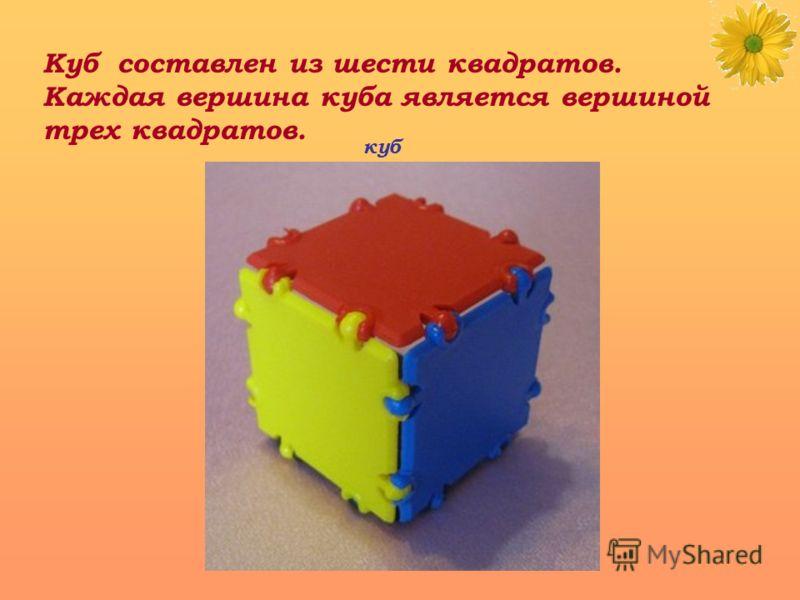 Куб составлен из шести квадратов. Каждая вершина куба является вершиной трех квадратов. куб