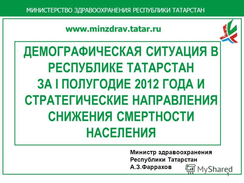 ДЕМОГРАФИЧЕСКАЯ СИТУАЦИЯ В РЕСПУБЛИКЕ ТАТАРСТАН ЗА I ПОЛУГОДИЕ 2012 ГОДА И СТРАТЕГИЧЕСКИЕ НАПРАВЛЕНИЯ СНИЖЕНИЯ СМЕРТНОСТИ НАСЕЛЕНИЯ ДЕМОГРАФИЧЕСКАЯ СИТУАЦИЯ В РЕСПУБЛИКЕ ТАТАРСТАН ЗА I ПОЛУГОДИЕ 2012 ГОДА И СТРАТЕГИЧЕСКИЕ НАПРАВЛЕНИЯ СНИЖЕНИЯ СМЕРТНО