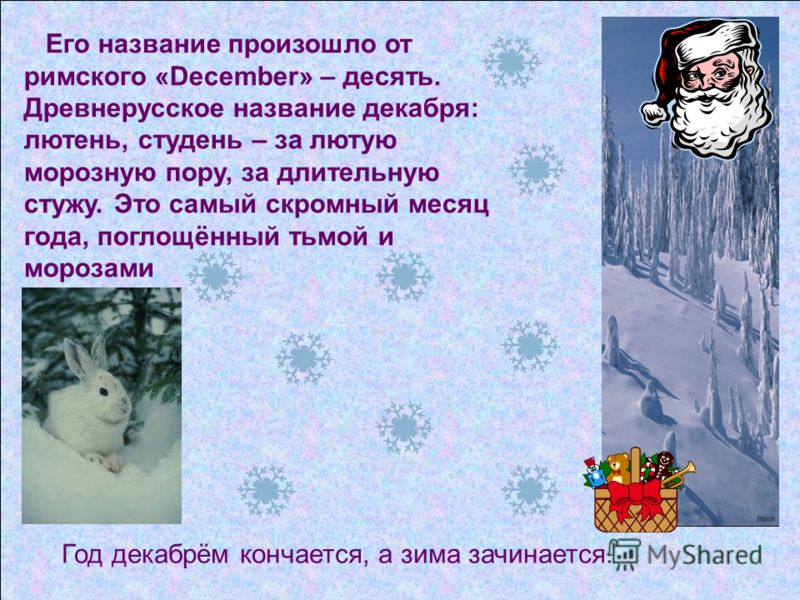 Год декабрём кончается, а зима зачинается. Его название произошло от римского «December» – десять. Древнерусское название декабря: лютень, студень – за лютую морозную пору, за длительную стужу. Это самый скромный месяц года, поглощённый тьмой и мороз