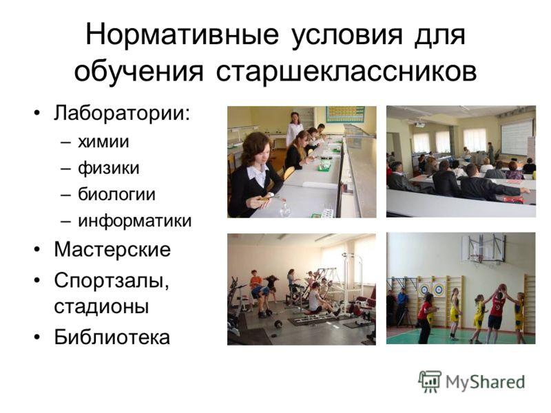 Нормативные условия для обучения старшеклассников Лаборатории: –химии –физики –биологии –информатики Мастерские Спортзалы, стадионы Библиотека