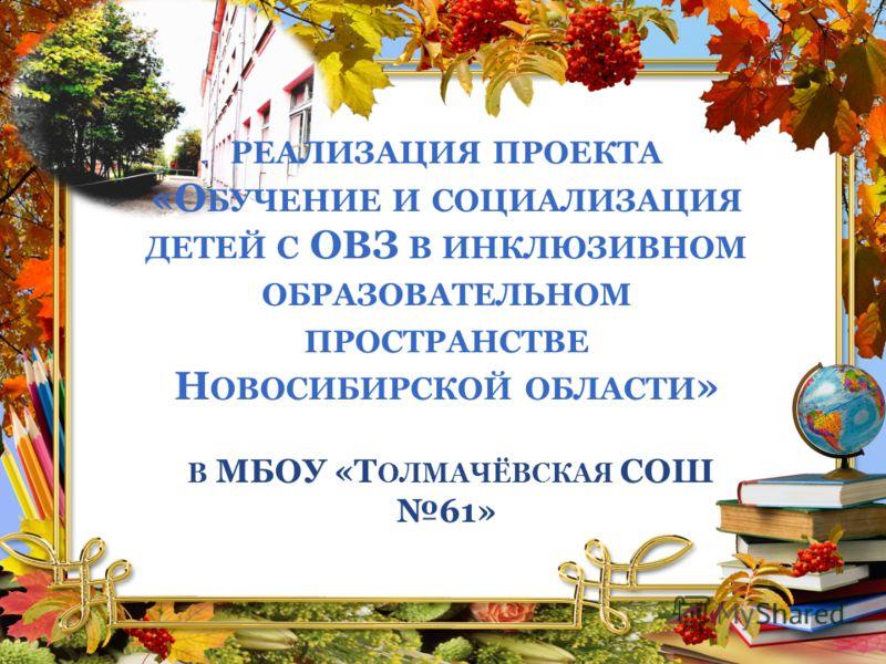 РЕАЛИЗАЦИЯ ПРОЕКТА «О БУЧЕНИЕ И СОЦИАЛИЗАЦИЯ ДЕТЕЙ С ОВЗ В ИНКЛЮЗИВНОМ ОБРАЗОВАТЕЛЬНОМ ПРОСТРАНСТВЕ Н ОВОСИБИРСКОЙ ОБЛАСТИ » В МБОУ «Т ОЛМАЧЁВСКАЯ СОШ 61»