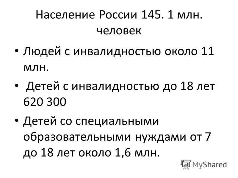 Население России 145. 1 млн. человек Людей с инвалидностью около 11 млн. Детей с инвалидностью до 18 лет 620 300 Детей со специальными образовательными нуждами от 7 до 18 лет около 1,6 млн.