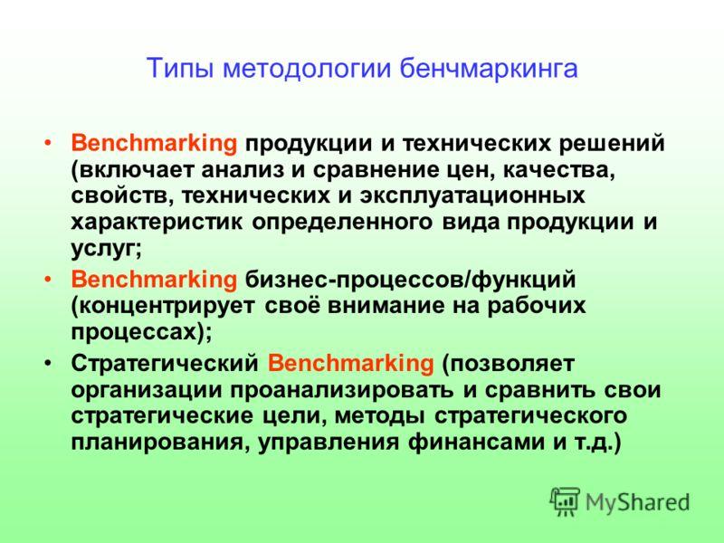 Типы методологии бенчмаркинга Benchmarking продукции и технических решений (включает анализ и сравнение цен, качества, свойств, технических и эксплуатационных характеристик определенного вида продукции и услуг; Benchmarking бизнес-процессов/функций (