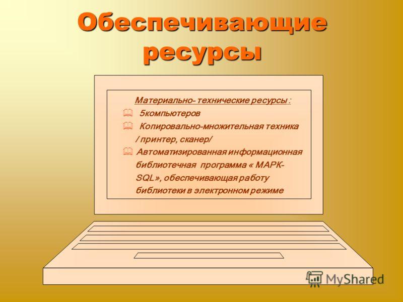 Обеспечивающие ресурсы Материально- технические ресурсы : 5компьютеров Копировально-множительная техника / принтер, сканер/ Автоматизированная информационная библиотечная программа « МАРК- SQL», обеспечивающая работу библиотеки в электронном режиме