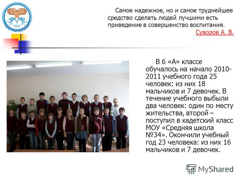 В 6 «А» классе обучалось на начало 2010- 2011 учебного года 25 человек: из них 18 мальчиков и 7 девочек. В течение учебного выбыли два человек: один по месту жительства, второй – поступил в кадетский класс МОУ «Средняя школа 34». Окончили учебный год