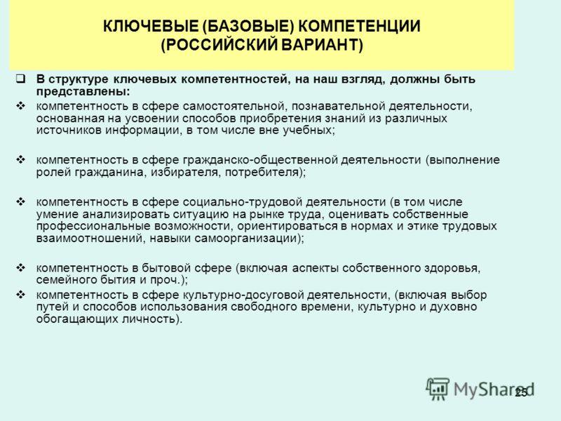 25 КЛЮЧЕВЫЕ (БАЗОВЫЕ) КОМПЕТЕНЦИИ (РОССИЙСКИЙ ВАРИАНТ) В структуре ключевых компетентностей, на наш взгляд, должны быть представлены: компетентность в сфере самостоятельной, познавательной деятельности, основанная на усвоении способов приобретения зн