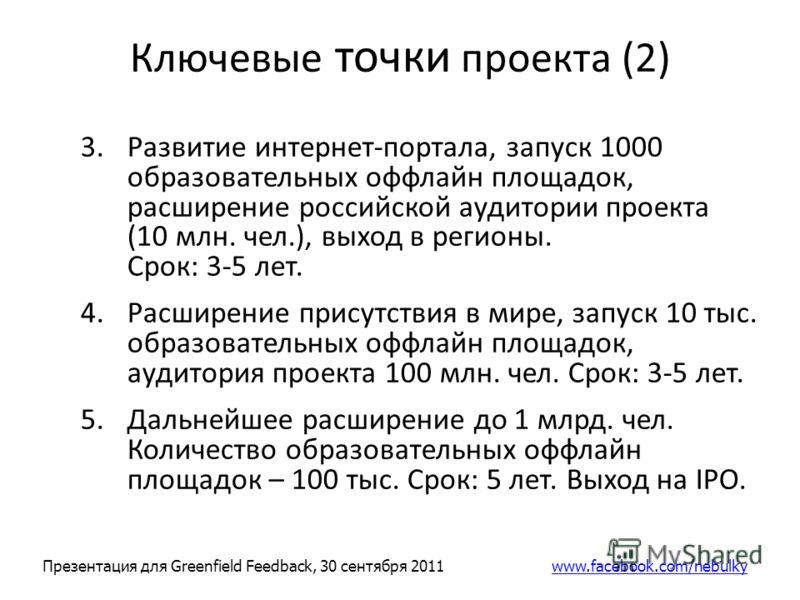 Ключевые точки проекта (2) 3.Развитие интернет-портала, запуск 1000 образовательных оффлайн площадок, расширение российской аудитории проекта (10 млн. чел.), выход в регионы. Срок: 3-5 лет. 4.Расширение присутствия в мире, запуск 10 тыс. образователь