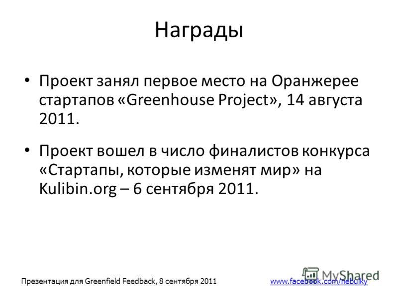 Награды Проект занял первое место на Оранжерее стартапов «Greenhouse Project», 14 августа 2011. Проект вошел в число финалистов конкурса «Стартапы, которые изменят мир» на Kulibin.org – 6 сентября 2011. Презентация для Greenfield Feedback, 8 сентября