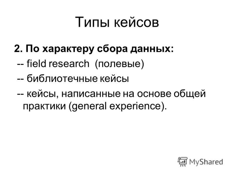 Типы кейсов 2. По характеру сбора данных: -- field research (полевые) -- библиотечные кейсы -- кейсы, написанные на основе общей практики (general experience).