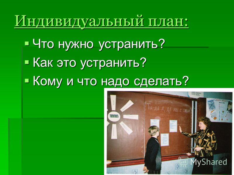 Индивидуальный план: Что нужно устранить? Что нужно устранить? Как это устранить? Как это устранить? Кому и что надо сделать? Кому и что надо сделать?