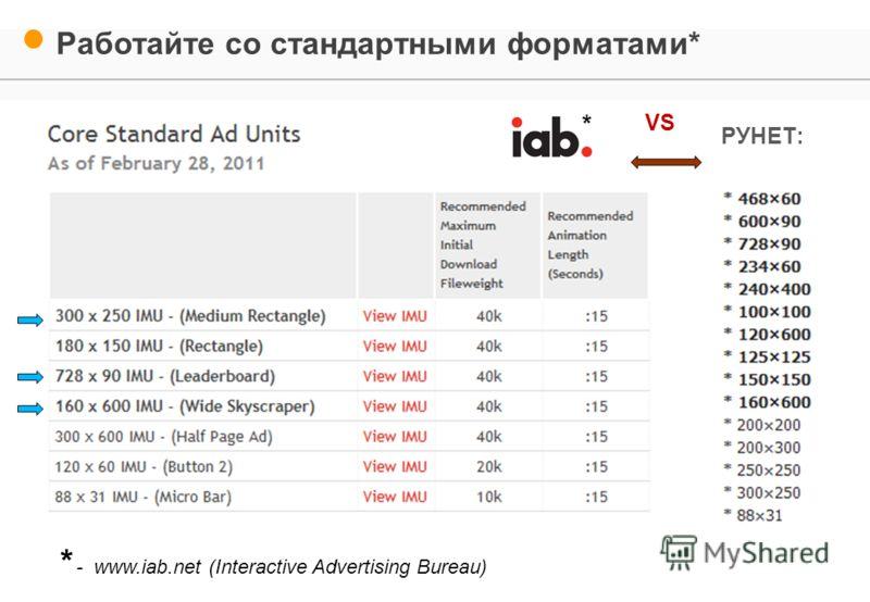 Работайте со стандартными форматами* РУНЕТ: VS * - www.iab.net (Interactive Advertising Bureau)