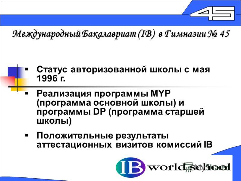 Международный Бакалавриат (IB) в Гимназии 45 Статус авторизованной школы с мая 1996 г. Реализация программы MYP (программа основной школы) и программы DP (программа старшей школы) Положительные результаты аттеcтационных визитов комиссий IB