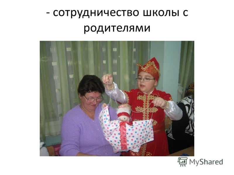 - сотрудничество школы с родителями