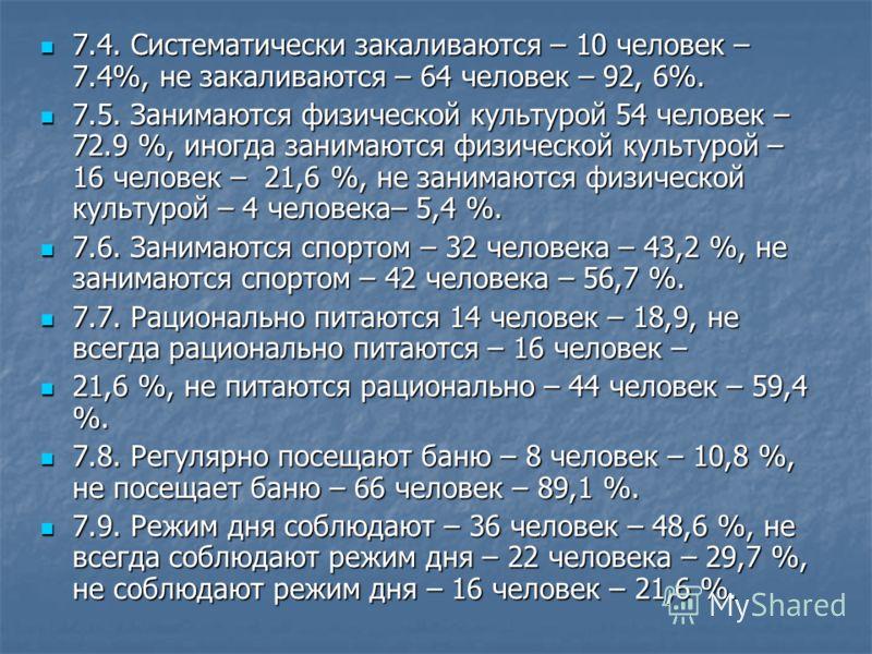 7.4. Систематически закаливаются – 10 человек – 7.4%, не закаливаются – 64 человек – 92, 6%. 7.4. Систематически закаливаются – 10 человек – 7.4%, не закаливаются – 64 человек – 92, 6%. 7.5. Занимаются физической культурой 54 человек – 72.9 %, иногда