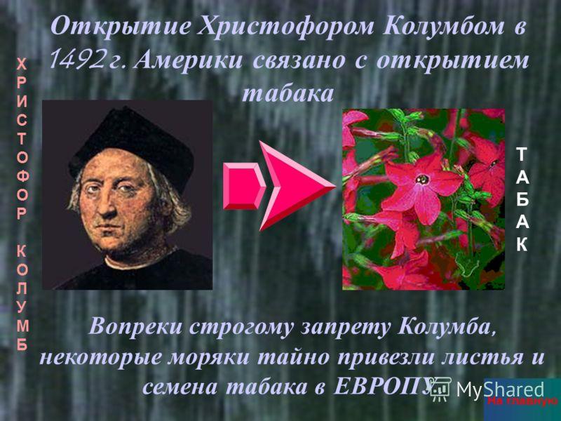 Открытие Христофором Колумбом в 1492 г. Америки связано с открытием табака ХРИСТОФОР КОЛУМБХРИСТОФОР КОЛУМБ ТАБАКТАБАК Вопреки с трогому з апрету К олумба, некоторые м оряки т айно п ривезли л истья и семена т абака в Е ВРОПУ. На главную