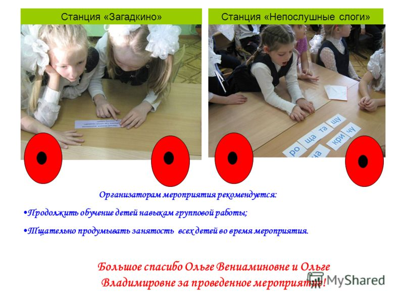 Станция «Загадкино»Станция «Непослушные слоги» Организаторам мероприятия рекомендуется: Продолжить обучение детей навыкам групповой работы; Тщательно продумывать занятость всех детей во время мероприятия. Большое спасибо Ольге Вениаминовне и Ольге Вл