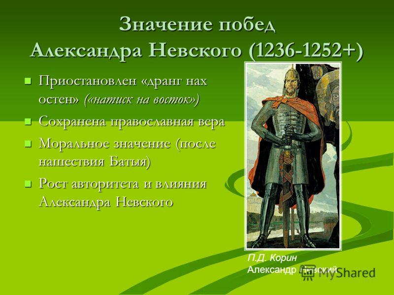 Значение побед Александра Невского (1236-1252+) Приостановлен «дранг нах остен» («натиск на восток») Приостановлен «дранг нах остен» («натиск на восток») Сохранена православная вера Сохранена православная вера Моральное значение (после нашествия Баты