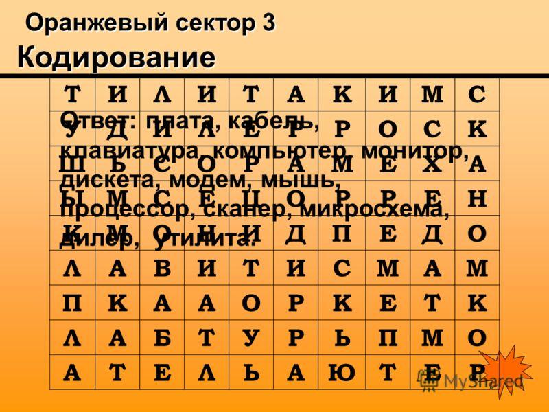 Оранжевый сектор 3 Кодирование Оранжевый сектор 3 Кодирование Ответ: плата, кабель, клавиатура, компьютер, монитор, дискета, модем, мышь, процессор, сканер, микросхема, дилер, утилита. ТИЛИТАКИМС УДИЛЕРРОСК ШЬСОРАМЕХА ЫМСЕЦОРРЕН КМОНИДПЕДО ЛАВИТИСМАМ