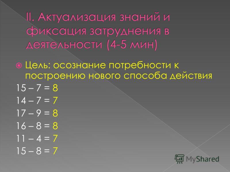 Цель: осознание потребности к построению нового способа действия 15 – 7 = 8 14 – 7 = 7 17 – 9 = 8 16 – 8 = 8 11 – 4 = 7 15 – 8 = 7
