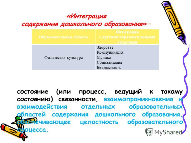 «Интеграция содержания дошкольного образования» – состояние (или процесс, ведущий к такому состоянию) связанности, взаимопроникновения и взаимодействия отдельных образовательных областей содержания дошкольного образования, обеспечивающее целостность