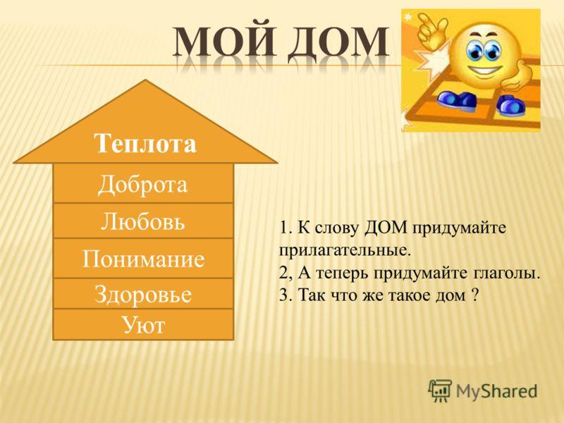 Теплота Доброта Любовь Понимание Здоровье Уют 1. К слову ДОМ придумайте прилагательные. 2, А теперь придумайте глаголы. 3. Так что же такое дом ?