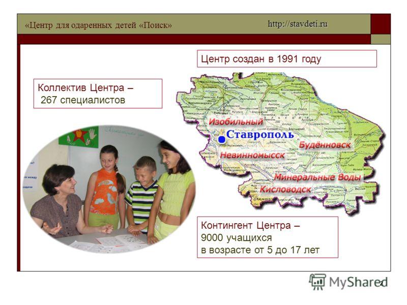 2 Центр создан в 1991 году Контингент Центра – 9000 учащихся в возрасте от 5 до 17 лет Коллектив Центра – 267 специалистов «Центр для одаренных детей «Поиск» http://stavdeti.ru