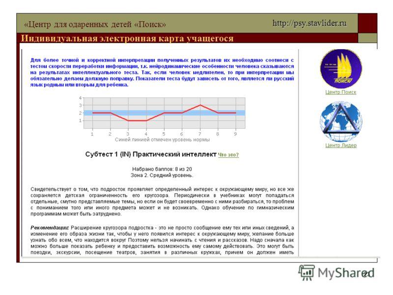 23 «Центр для одаренных детей «Поиск» Индивидуальная электронная карта учащегося http://psy.stavlider.ru