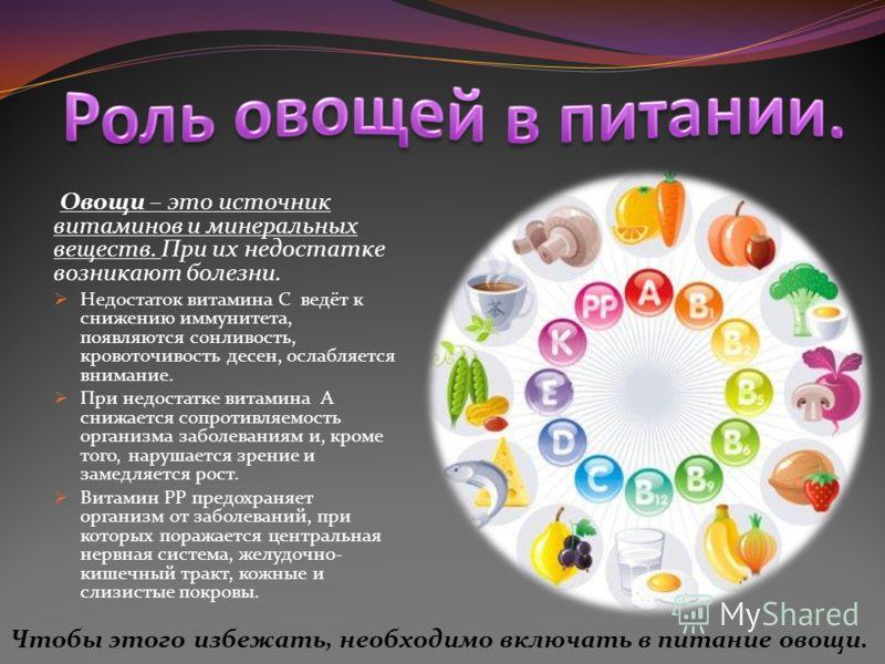 Овощи – это источник витаминов и минеральных веществ. При их недостатке возникают болезни. Недостаток витамина С ведёт к снижению иммунитета, появляются сонливость, кровоточивость десен, ослабляется внимание. При недостатке витамина А снижается сопро