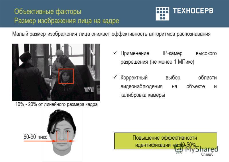 Слайд 6 Объективные факторы Размер изображения лица на кадре Малый размер изображения лица снижает эффективность алгоритмов распознавания 60-90 пикс 10% - 20% от линейного размера кадра Применение IP-камер высокого разрешения (не менее 1 МПикс) Корре