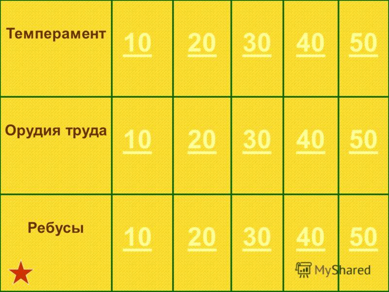 Темперамент 10 20304050 Орудия труда 10 20304050 Ребусы 10 20304050